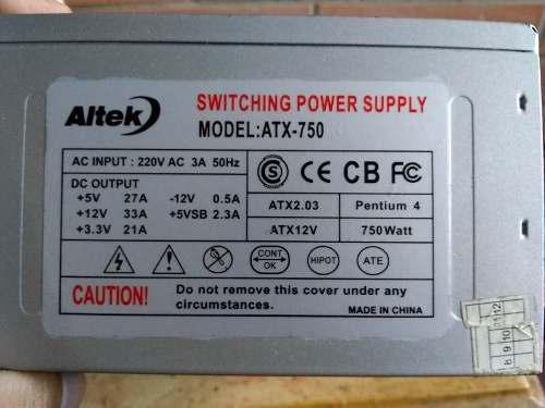 Fuente de poder atx 750w para pc