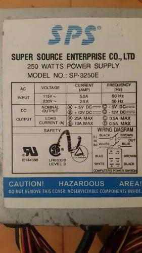 Fuente De Poder De Pc 250 Watts Modelo Sp-3250e