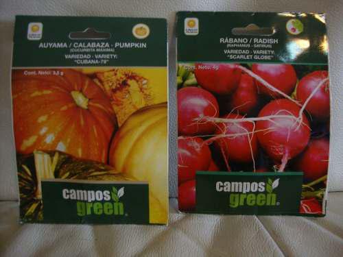 Semillas certificadas en sobre de auyama y rabano