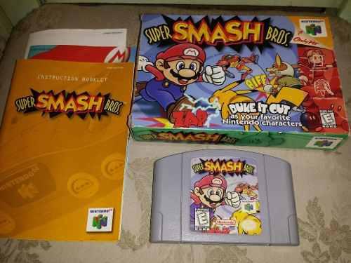 Smash Bros Nintendo 64 Juego Caja Manual Completo 65v