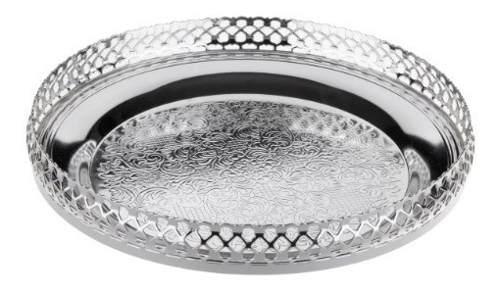 Bandeja circular plateada decorativa queen anne
