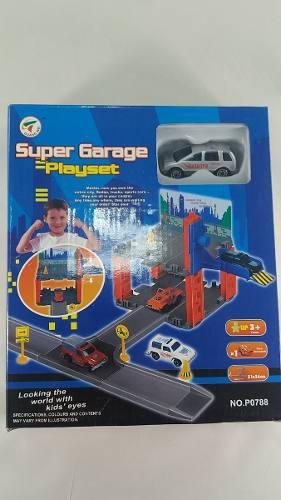 Pista de carro con garaje y accesorios, carrito de juguete