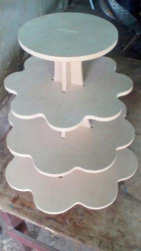 Portacupcake de 4 niveles en mdf de 9mm, tipo flor en crudos