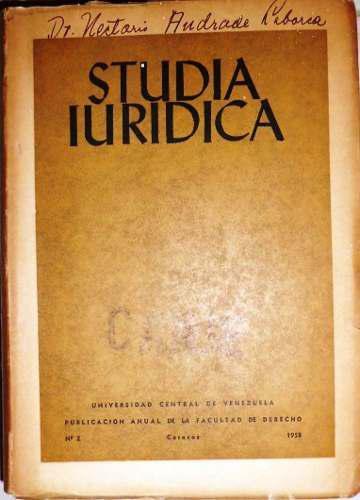 Studia Iuridica, Universidad Central De Venezuela, 1958