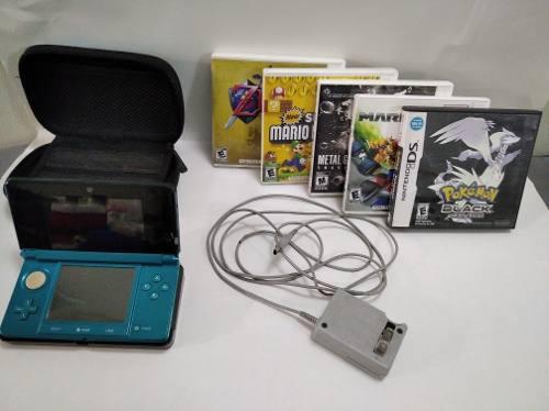 Nintendo 3ds Azul Con Forro Turquesa