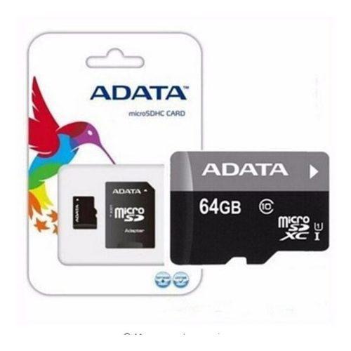 Memoria micro sd adata 64gb clase 10 c adaptador celular new