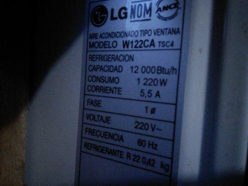 Aire acondicionado de ventana lg 12.000 btu, 220v