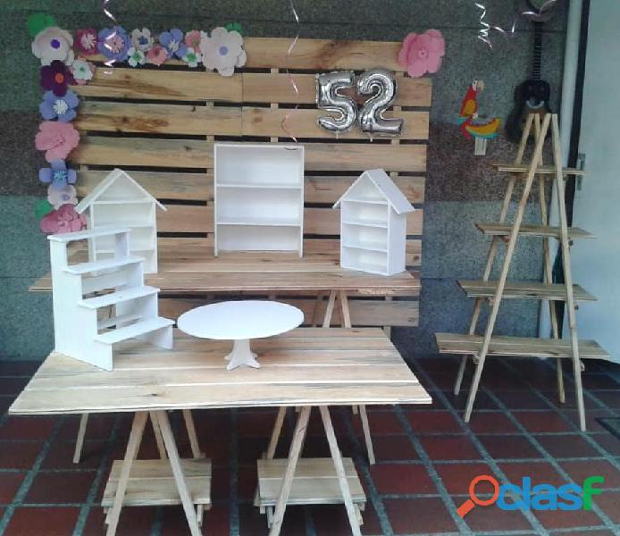 Mobiliario pallets candy bar