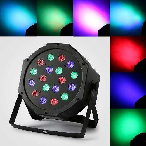 Par 64 led, luz led rgb 18 leds x 3w dmx 7 canales cachapas