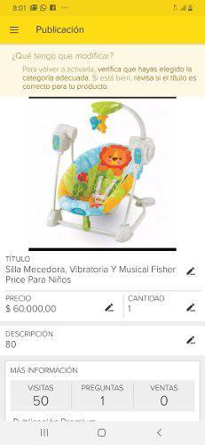 Silla mecedorda, vibratoria, canguro, musical fischer price