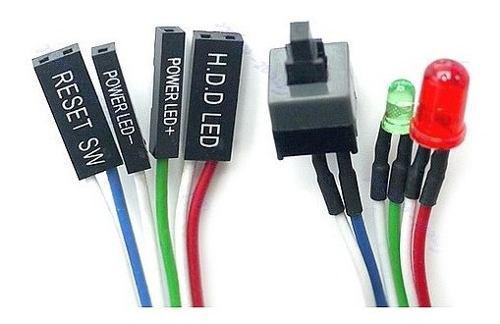 Pack 10 cables botón sw encendido power con led para pc