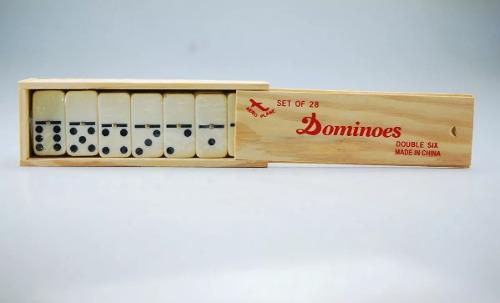 Domino con estuche de madera juego de mesa 28pzs grande