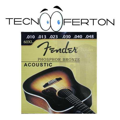 Set juego cuerdas guitarra acustica metal 0.10 fender 6 pcs