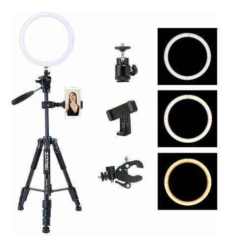 Aro de luz led 10 pulg 128 led + tripode fotografia y video