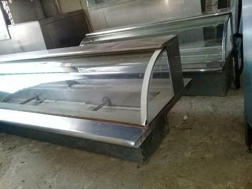 Exhibidor mostrador acero inoxidable vidrio curvo p/empotrar