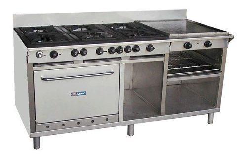 Cocina industrial 6 h horno plancha gratinador en acero inox