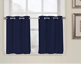 12v juego de dos cortinas azul marino para ventana pequeña