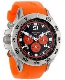 Reloj nautica acero inoxidable banda resina naranja 109503