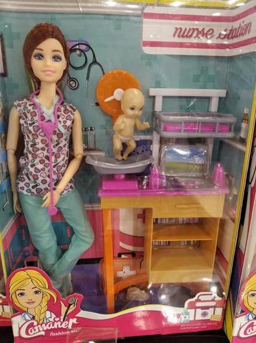Barbie doctora muñeca pediatra niña juguete bebes
