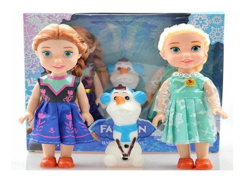 Muñecas Disney Frozen Elsa Ana Olaf Ser De 3 Pzas Tamaño 7