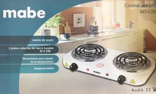 Cocina electrica mabe 2 hornillas 110v/2000 watts + obsequio