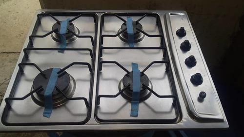 Tope de cocina 4 hornillas marca superior acero inox.