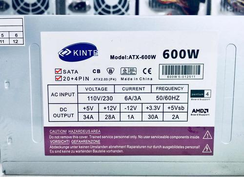 Fuente Poder 600 Watt Kinte (nueva)