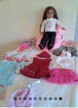 Muñeca american girl original cabello largo ropa bolso cama