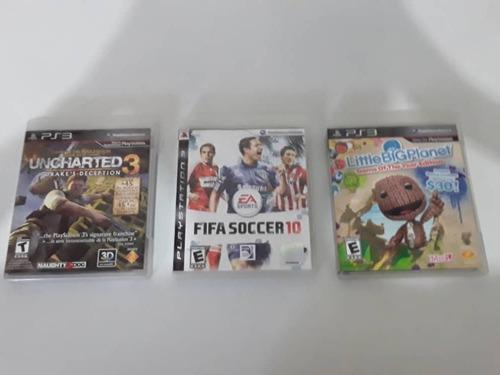 Ps3 juego fifa soccer 10, uncharted 3, little big planet