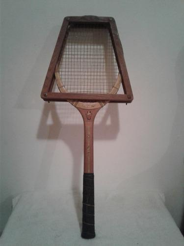 Antigua Raqueta De Tennis Madera Con Tensor Vintage