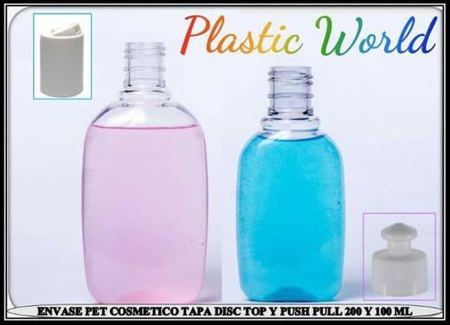 Envase plástico cosmético 100ml cc tapa disc top y push