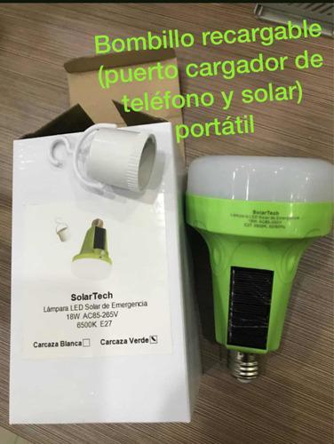 Bombillo recargable (puerto de teléfono y solar) portátil