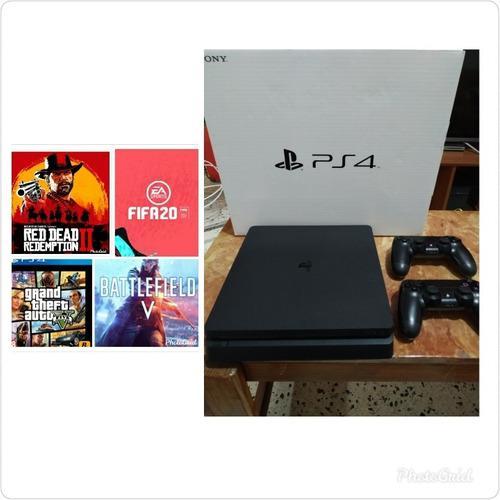 Playstation 4 slim+4 juegos + 2 controles todo nuevo (350 v)