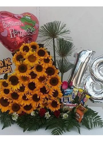 Corazón, girasoles,gerberas cumpleaños,aniversario, madres