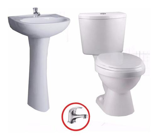 Juego sala de baño lavamanos y wc con herraje y griferia