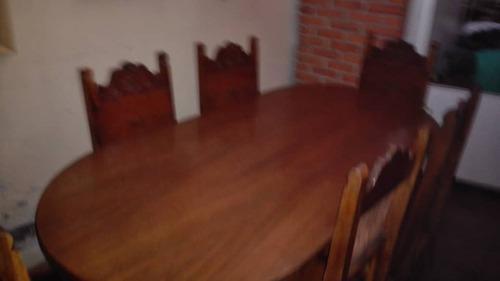 Juego de sala comedor en madera y cuero