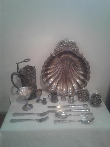 Lote antiguedades bandeja copas cubiertos decoracion vintage