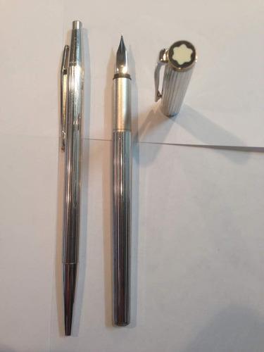 Pluma fuente y bolígrafo montblanc noblesse de colección
