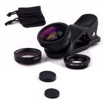 2 x lente ojo de pez fisheye 3 en 1 celular tablet camaras