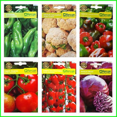 6 sobres de semillas importadas de pimenton pepino tomate
