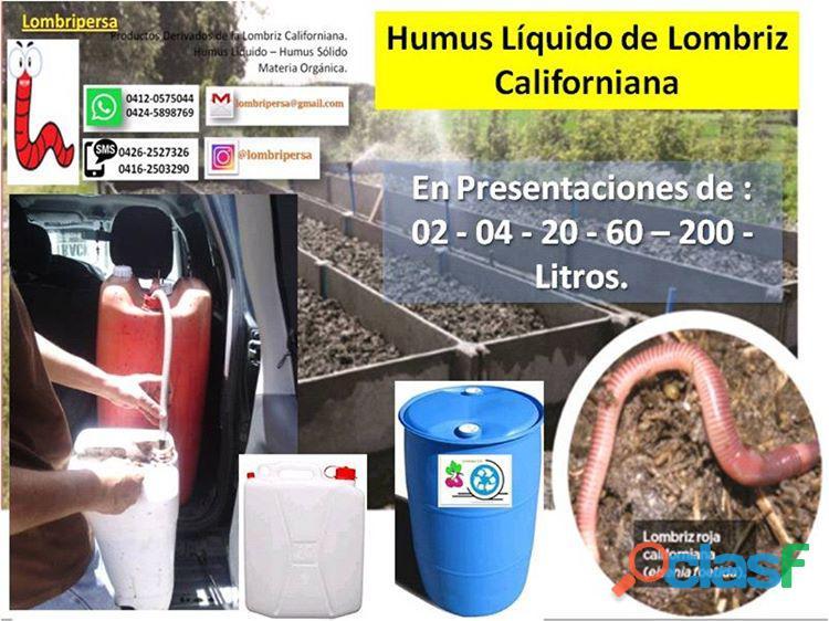 Humus líquido derivado de la cría de lombriz roja californiana.