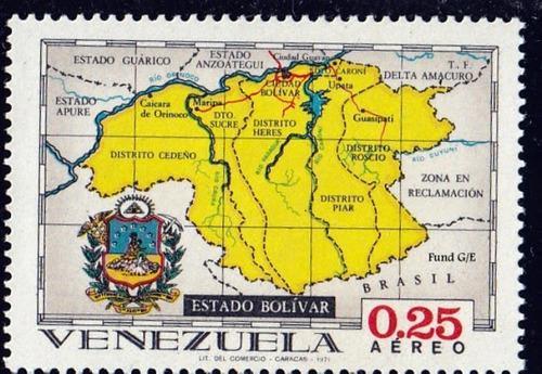 Estampilla, estado bolivar, venezuela, 0,25 aéreo, 1971