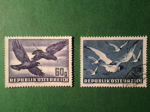Estampillas de austria. serie air mail, pajaros, 1950.