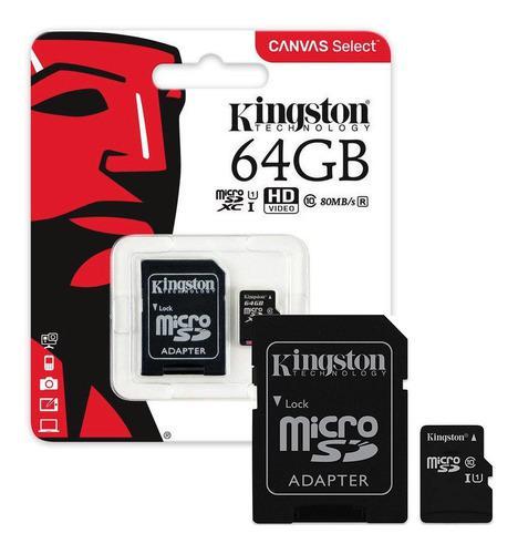 Memoria micro sd kingston 64gb clase 10 original certificada