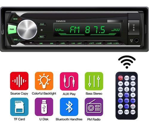 Reproductor de carro usb aux radio control bluetooth rgb
