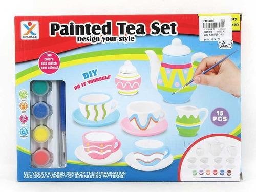 Juego de te para pintar y decorar a tu estilo juguete niñas