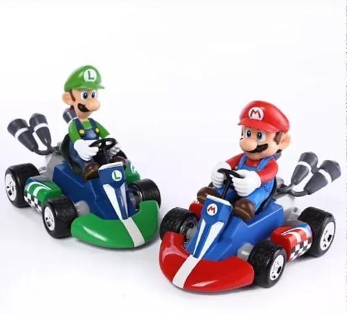 Mario bros carro y figura yoshi toad bowser donkey peach
