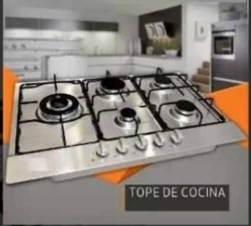 Tope cocina 5 hornillas de vitrocerámica de 77cm a gas