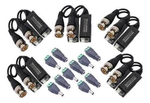 Kit video balun + conectores plug dc camaras seguridad dvr