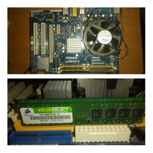 Combo tarjeta madre asrock 945gcm-s, 2g y cpu core2duo 3.0
